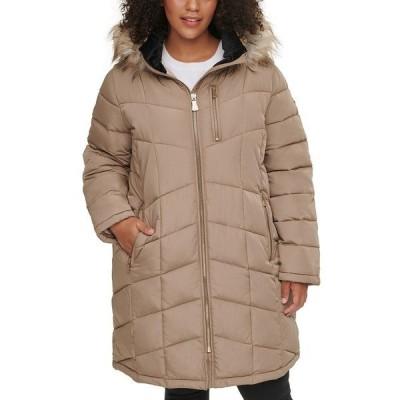 カルバンクライン コート アウター レディース Plus Size Faux-Fur Trim Hooded Puffer Coat Tawny Owl