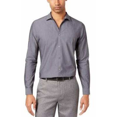 Calvin Klein カルバンクライン ファッション ドレス Calvin Klein Mens Dress Shirt Solid Gray Size 2XL Infinite Slim Fit