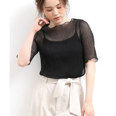ViS キャミ付きシアープリーツ半袖プルオーバー(ブラック(01))【返品不可商品】