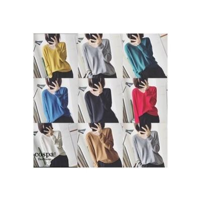 Vネック レディース カットソー インナー 長袖 無地 薄手 かわいい Tシャツ トップス 冷え対策