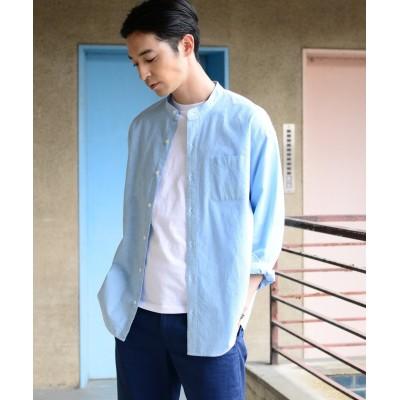 【コーエン】 インディアコットンヘアラインストライプドロップショルダーバンドカラーシャツ メンズ LTBLUE LARGE coen