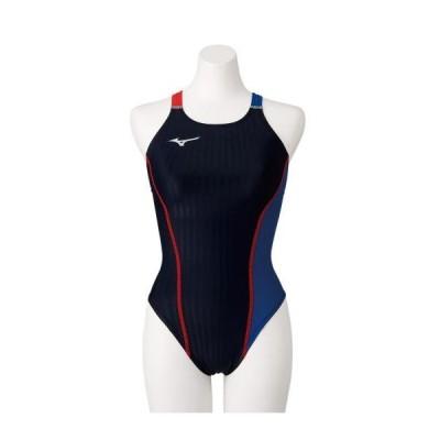 [ミズノ公式] 競泳練習用エクサースーツUP ミディアムカット[レディース] ブラック×ブルー