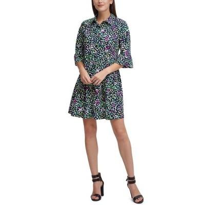 ダナ キャラン ニューヨーク ワンピース トップス レディース Printed Drop-Waist Shirtdress Navy Multi