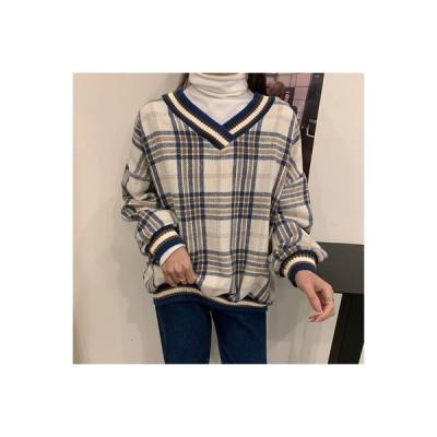 【送料無料】襟 セーター 女性 秋冬 年 ルース 韓国風 オーバーサイズ 風 トレンドカラー | 364331_A64454-0292329