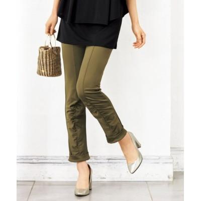 【大きいサイズ】 360°のびるフロントギャザー9分丈パンツ(オトナスマイル) パンツ, plus size pants