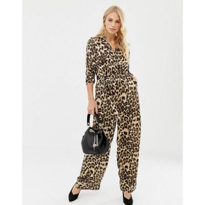 リクオリッシュ レディース ワンピース トップス Liquorish leopard print wide leg jumpsuit Leopard print