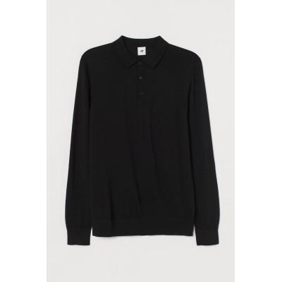 H&M - マッスルフィット ウールポロシャツ - ブラック