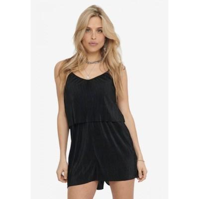 オンリー Only レディース オールインワン プレイスーツ ワンピース・ドレス Claudia Strap Plisse Playsuit Black