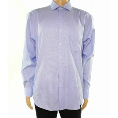 Alfani  ファッション ドレス Alfani Mens Dress Shirt Blue Size 16 1/2 Regular Fit Geo Performance