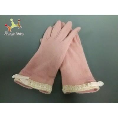 クレイサス CLATHAS 手袋 レディース ピンク×ベージュ リボン ウール     スペシャル特価 20201104