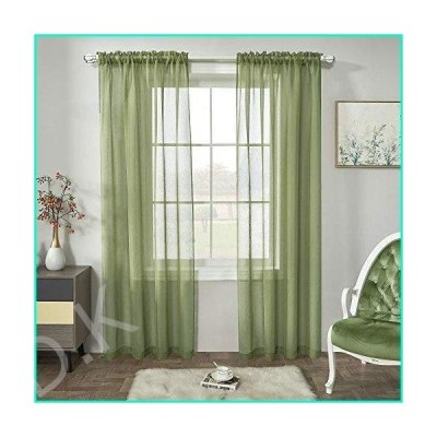 Sage Green Semi Sheer Curtains Faux Linen Sheer Window Curtain Panels Drapes 84 Inch Length with Rod Pocket for Living Room Girls Kids Room