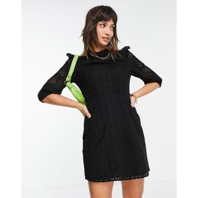 ホイッスルズ Whistles レディース ワンピース ミニ丈 ワンピース・ドレス frill broderie mini dress in black ブラック