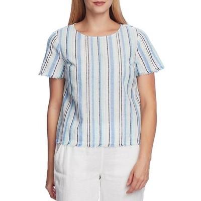 ヴィンスカムート レディース シャツ トップス Short Sleeve Striped Linen Cotton Blend Frayed Hem Tee