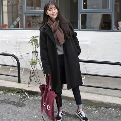 ラシャコートレディースアウターロング丈コート無地冬物長袖きれいめ暖かく防寒