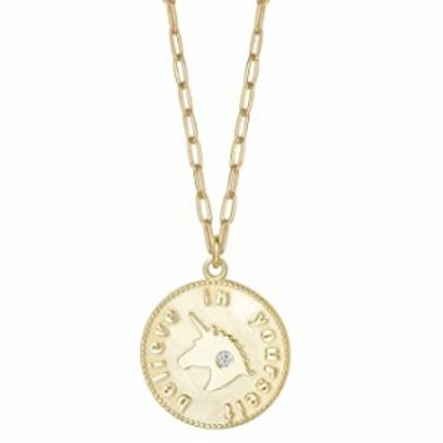 Agvana 14k Yellow Gold Plated 925 Sterling Silver Coin Unicorn Pendant Paperclip Chain Necklace Dainty Jewelry Gifts for Women H