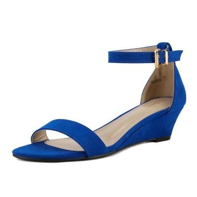 レディース 衣類 トップス Women Low Wedge Heel Sandals Open Toe Ankle Strap Buckle Lady Work Casual Shoes INGRID ROYAL/BLUE/SUEDE Size 5