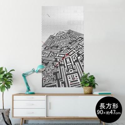 ポスター ウォールステッカー 長方形 シール式 90×47cm Lsize 壁 おしゃれ 剥がせる wall sticker poster 白黒 迷路 イラスト 008131