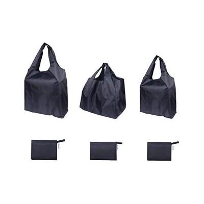 BIGHAS エコバッグ 3点セット 買い物袋 買い物バッグ 折畳たたみ レジカゴ マチ広 深長 コンパクト 黒 丈夫 (ブラック 3点セット)