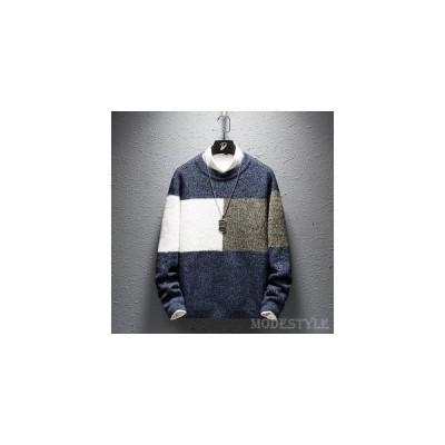 セーターメンズカジュアルトップスニット丸首ラウンドネック長袖配色デザイン学生スクール風秋冬暖かい重ね着