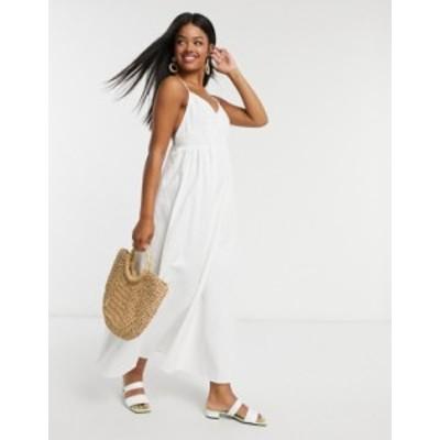 エイソス レディース ワンピース トップス ASOS DESIGN soft denim shirred waist v neck slip maxi dress White