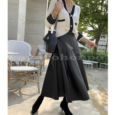 韓国ファッションフレアスカートレザースカート秋ボトムス秋冬ロングスカート黒レザースカートフレアスカートカジュアルレディースファッション
