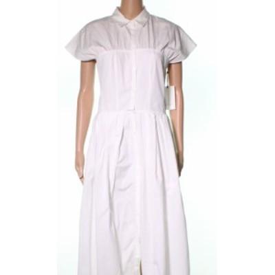 ファッション ドレス Lewit NEW White Button Front Poplin Womens Size 6 Shirt Dress Cotton