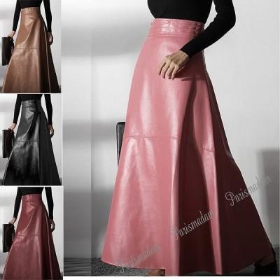 革のマキシ丈スカート 合革 ロングスカート フレアスカート 切り替え ピンク レッド ブラック  大人 上品 parismadam送料無料