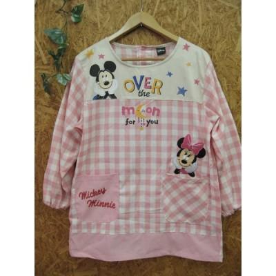 ディズニー/ミッキーマウス&ミニーマウス/ピンクチェック柄/割烹着 スモック かっぽうぎ ミッキーミニー
