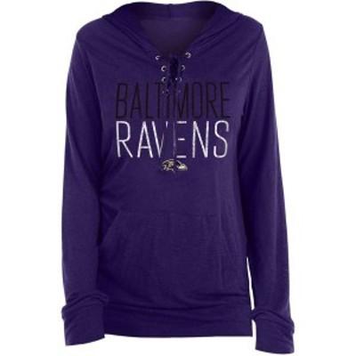 ニューエラ レディース Tシャツ トップス New Era Women's Baltimore Ravens Lace Hood Purple Long Sleeve T-Shirt