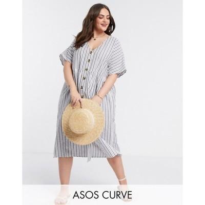 エイソス レディース ワンピース トップス ASOS DESIGN Curve button through smock midi dress in stripe