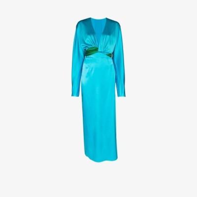 マテリエル Materiel レディース パーティードレス Vネック ラップドレス ワンピース・ドレス V-neck silk wrap dress blue
