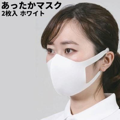 あったかマスク ホワイト 2枚入り 立体マスク 布マスク 洗える 繰り返し洗って使える 耳が痛くなりにくい 秋冬