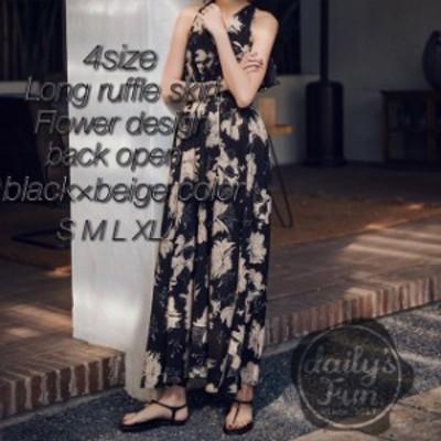 【お取り寄せ】花柄 リゾート マキシ丈 フリル バックオープン ゆったり セクシー [TMX0102]