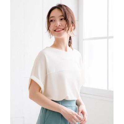 THE SHOP TK / リサイクルポリ切り替えプルオーバー WOMEN トップス > Tシャツ/カットソー