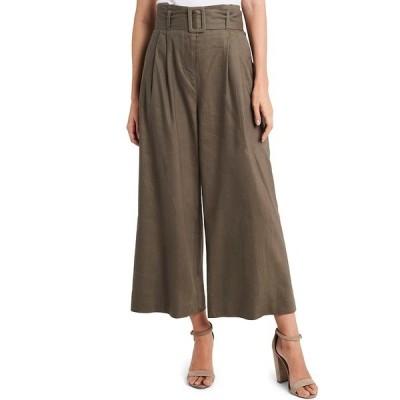 ヴィンスカムート レディース カジュアルパンツ ボトムス Stretch Linen Blend Belted Wide Leg Pants Dusty Olive