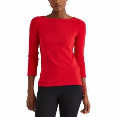 ラルフ ローレン LAUREN Ralph Lauren レディース Tシャツ トップス Stretch Cotton Boatneck Top Lipstick Red