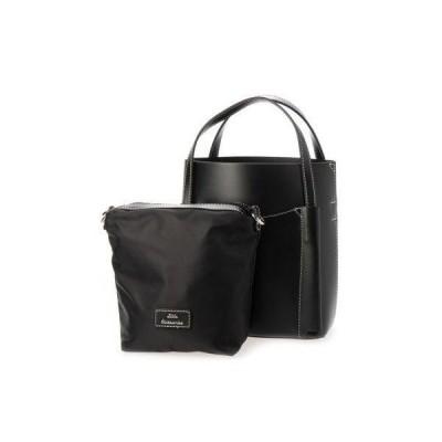 リトルアクセサリーズ LITTLE accessories 一重仕立てのショルダー付きミニトートバッグ (ブラック)