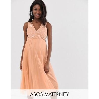 エイソス ASOS Maternity レディース ワンピース ワンピース・ドレス ASOS DESIGN Maternity embroidered top pleated tulle midi dress Nude
