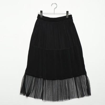 スタイルブロック STYLEBLOCK 異素材切り替えプリーツスカート (ブラック)