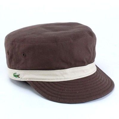 キャップ メンズ 帽子 リバーシブルワークキャップ ラコステ コットン素材 ブラウン ブラック