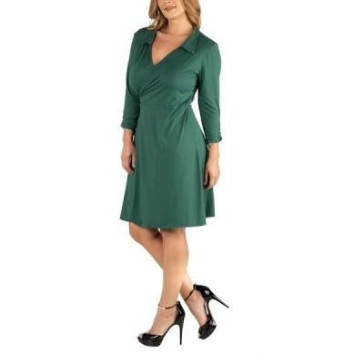 24セブンコンフォート ワンピース トップス レディース Knee Length Collared Plus Size Wrap Dress Green