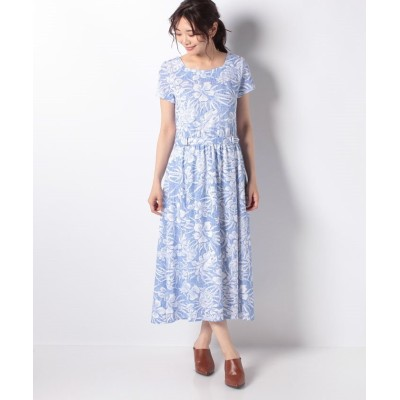 【ラ ジョコンダ】 カノコジャージー 花柄プリントワンピース レディース ブルー 40 LA JOCONDE