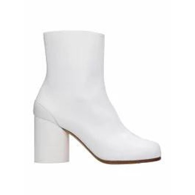 Maison Margiela レディースシューズ Maison Margiela Tabi White Leather Ankle Boots w
