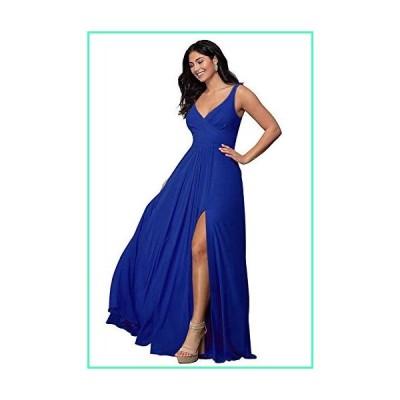 V Neck Bridesmaid Dresses Split Long A Line Pleated Sleeveless Wedding Prom Dress Womens Royal Blue Size 8並行輸入品