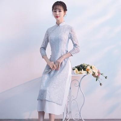 アオザイ ベトナム民族衣装 ワンピース ロングドレス パーティー Ao Dai 二次会 キャバドレス 結婚式 お呼ばれ シルバーグレー 七分袖