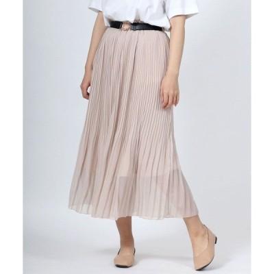 スカート シフォンプリーツスカート[無地]