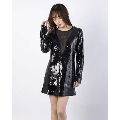 ゲス GUESS SPARKLE MINI DRESS SEQUINS (JET BLACK)