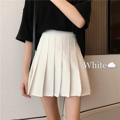 2021新しい韓国版のプリーツスカートの高腰a字はやせている洋風の白いスカートの半身のスカートの女性の夏を表します