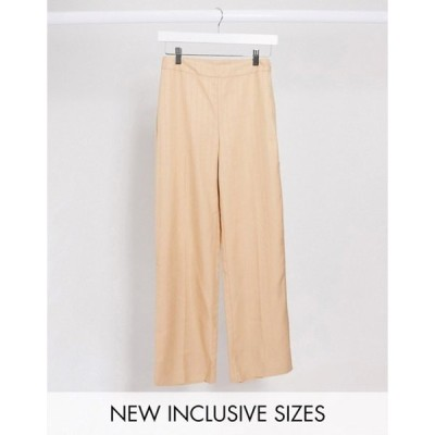 コルージョン レディース カジュアルパンツ ボトムス COLLUSION tailored pants in beige pinstripe
