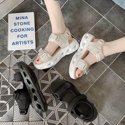 2020新作 マジックテープサンダル 運動 レディース アウトドア カジュアル サンダル スポーツサンダル 走れる 厚底スポサン 靴